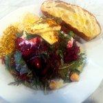 Beetroot salad, halloumi, dukka, hazelnuts. Amazing.