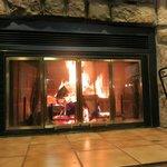 the burning fireplace