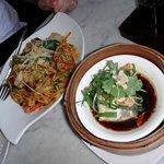 sichuan noodles + steamed barramundi