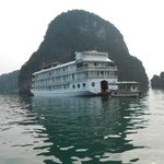 Coming back to our boat on Ha Long Bay after a tour to one of the many caves there