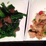 Salt n pepper prawns plus beef and Chinese broccoli