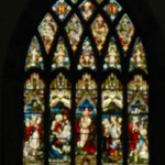 Stained glass window with images