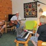 Family jam session in cabin #8.
