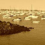 Harbor in sepia tone