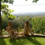 The charming sculptures and view of Beaune from La Terre D'or
