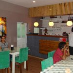 The indoor area of the restaurant.