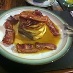 American pancakes with bacon and maple syrup