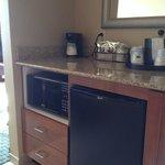 Mini-fridge/Micro-wave/wet sink/coffee maker