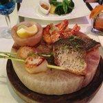 Signature Seafood Platter served on heated Himalayan Saltbrick
