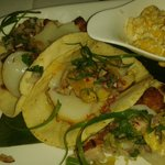 Pork belly and scallop tacos