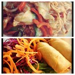 Spring Roll Appetizer and Kee Mao Goong Gai (Chicken and Shrimp with noodles in spicy basil sauc