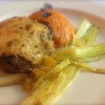 NY Crown Strip Dijonaise with leeks and sweet potato puree.