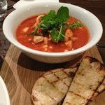 Seafood Stew, vegetables, chickpeas, tomato, saffron, hot toast