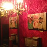 Even the bathrooms rock the red-velvet western vibe