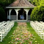 wedding setup in the formal garden