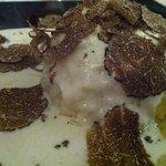 Batata com alho porro, creme e trufa