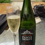 Welcomed to Parva Domus with a lovely glass of Champagne