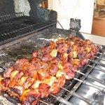 Delicious Pinchos at barbeque at the Villa