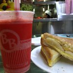 Strawberry banana juice and a banana sandwich