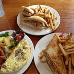 Turkey club, grilled cheese and omelette. Yum! We ate every bite.