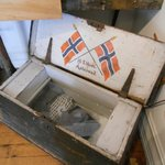 Typical trunk used during sailing days (Alesund Museum exhibit)