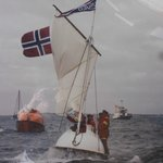 Picture of enclosed lifeboat on the high seas (Alesund Museum)