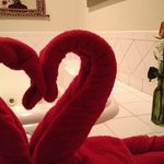 Heart shaped towels were set up daily