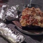 Chicken, brisket & pork tacos along side of Enchilada Mac & Cheese!