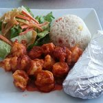 Plate-licking yummy Shrimp Diabla, fresh salad, rice w/corn & peppers, fresh/hot homemade tortia
