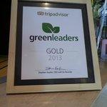 TripAdvisor award on front desk