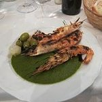 Prawns and the fabulous green pesto sauce
