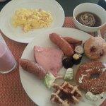 Delicious Breakfast - Soba, bagel, waffle, sausages, sushi, scrambled egg, etc