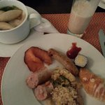 Spolit for choice - Kway Teow Soup with fish cake, smoked salmon, fried rice, turkey, croissant