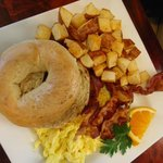 Soft scramble, bacon home fries and the best plain bagel