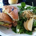 Thai Salmon Burger with Spinach/Pear/Blue Cheese salad!