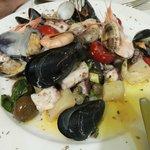 Seafood salad served lukewarm, excellent