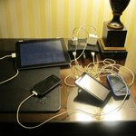 Charging station with some of our multiple electronic devices.  Thank you!