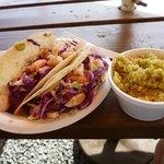 Shrimp tacos w/cilantro lime rice..Mmmmm!