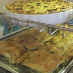 Wonderful homemade quiche and pies.