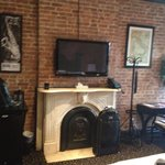 Fireplace and brick wall- room 207
