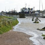 "Southwould Harbour ""Hight tide"" 6 October 2013. Path near pub."