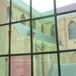 Sint Salvator's cathedral through the window