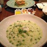 veggie risotto and cod dish