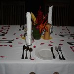 Table setting with Initials in Petals