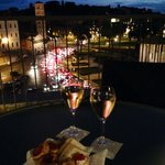 View from the rooftop bar - some little treats they gave us with our wine!
