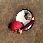 chocolate dessert with sorbet