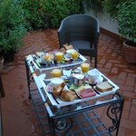 Beautiful breakfast served on the terrace