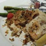 Horseradish encrusted flounder, asparagus, mashed potatoes