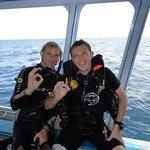 Yann Poire und ich auf dem Boot