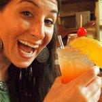 wife enjoying a fabulous rum punch